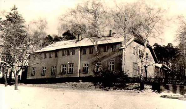 schwarz-weiß Foto Waldhaus