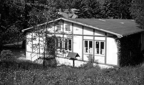 Flaches Gebäude mit blühender Wiese im Vordergrund