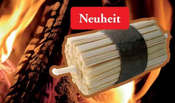 """Grafik: ein Bündel K-lumet mit der Aufschrift """"Neuheit"""", dahinter ein Feuer mit brennendem Holz"""