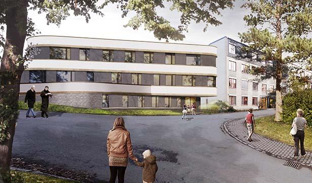 Visualisierung Krankenhausgebäude mit beifer Fassade und dunklen Fenstern