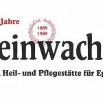 Auf dem Logo steht 100 Jahre Kleinwachau, Evangelische Heil- und Pflegestätte für Epileptiker