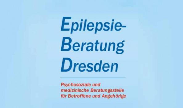 Grafik mit blauem Hintergrund, in dunkelblauer Schrift steht: Epilepsiebertung Dresden, in roter Schrift darunter: psychosoziale und medizinische Beratungsstelle für Betroffene und Angehörige
