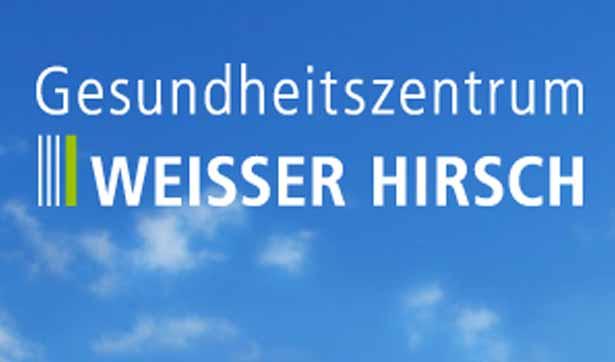 blauer Hintergrund mit Wolken, davor der Schriftzug: Gesundheitszentrum Weißer Hirsch