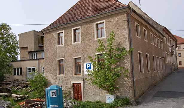 Ein altes Gebäude, an der Fassade wachsen Büsche