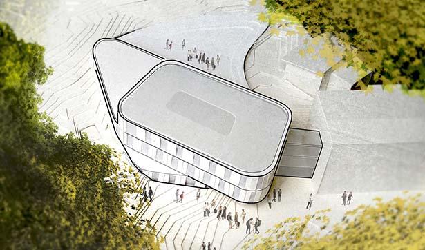 Modellzeichnung: Draufsicht auf das neue Gebäude
